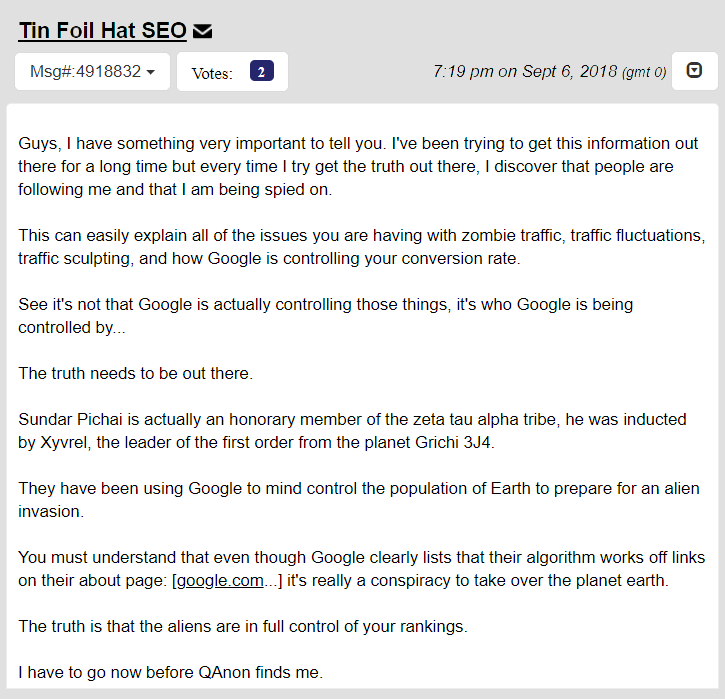 a tin foil hat seo posts to webmaster world
