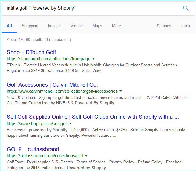 Hunting for Shopify Stores in Google