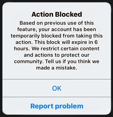 Account Blocked Message on Instagram