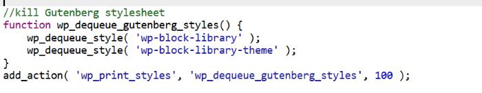 Code to Remove the Gutenberg Stylesheet
