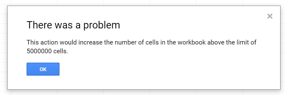 Google Sheets Error Message