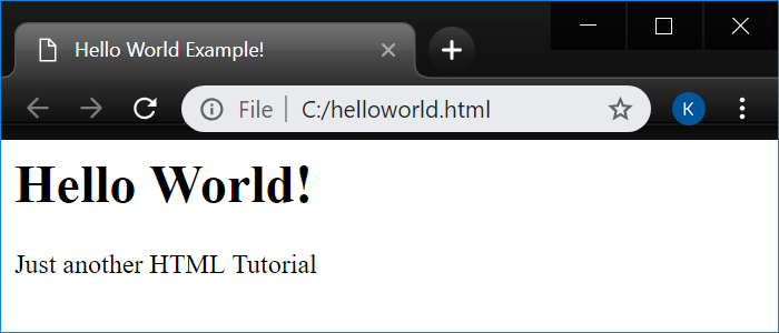 Hello World file in Chrome