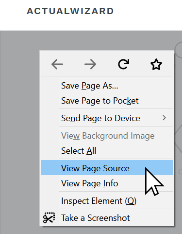 How to right click and view the source code of a page.