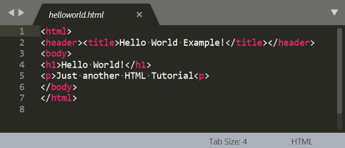Hello World HTML Code in Sublime Text