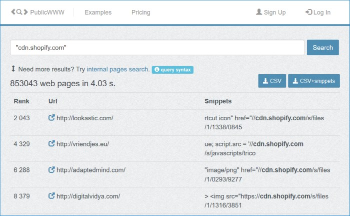 Using Public WWW to Find Shopify Stores